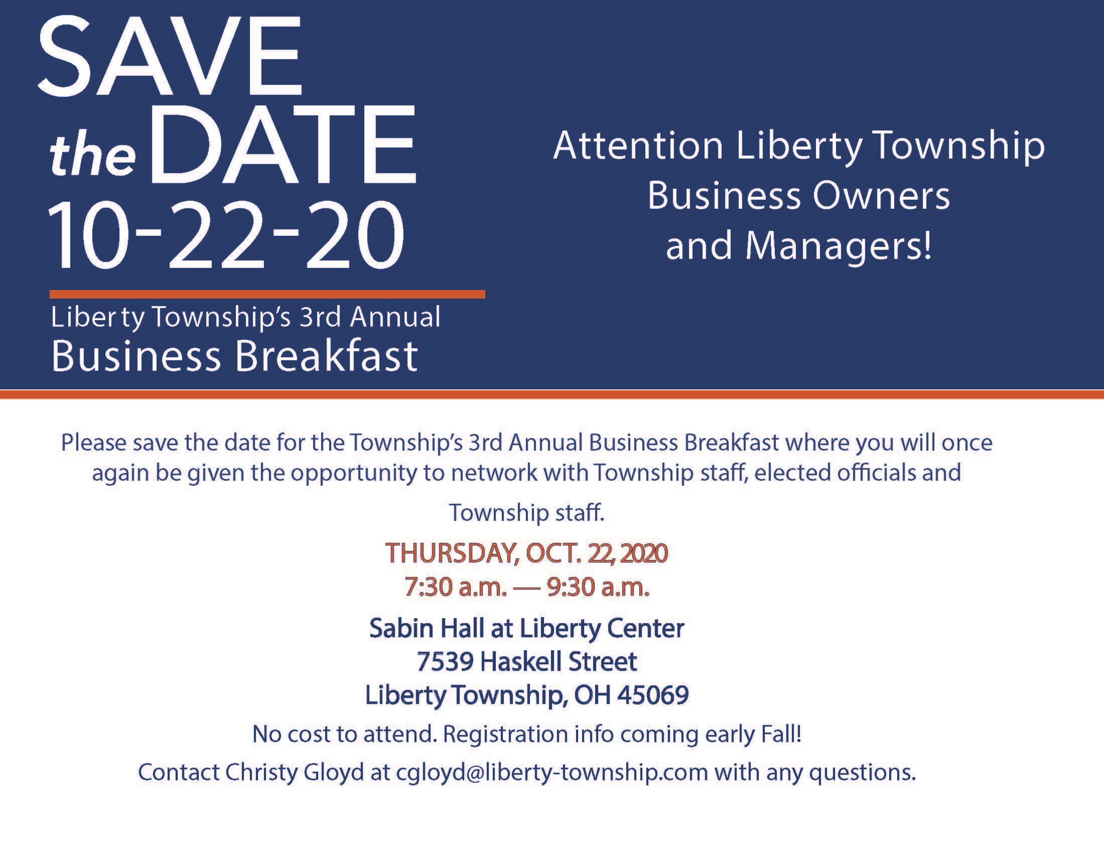 2020 Business Breakfast Save the Date
